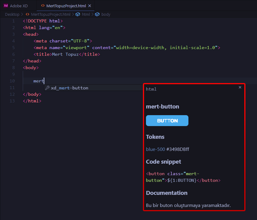 Adobe XD - VS Code Eklentisi Components Edit